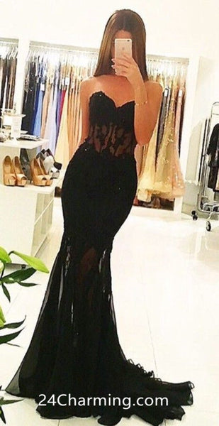 Black Strapless Mermaid Prom Dress, Appliques Formal Pageant Dress