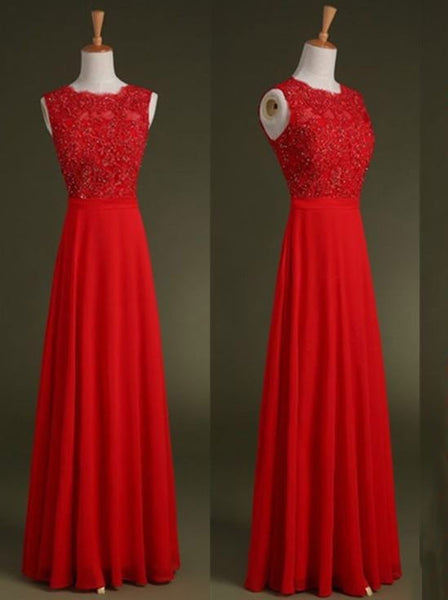A-Line Jewel Chiffon Red Prom Dresses,Evening Dresses