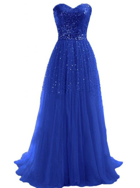 A-Line Sequins Long Tulle Prom Dresses,Evening Dresses