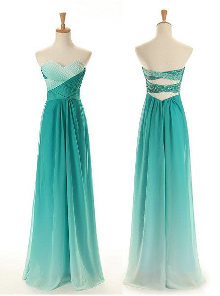 A-Line Green Sweetheart Chiffon Prom Dresses,Evening Dresses