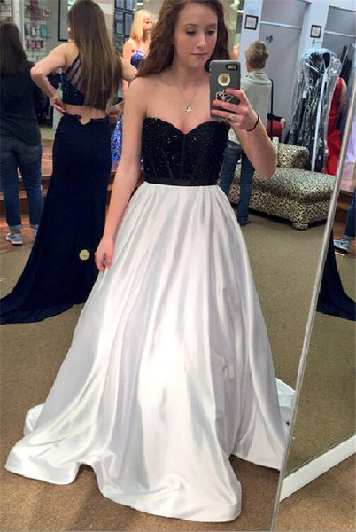 Sweetheart Black And White Prom Dresses,Evening Dresses