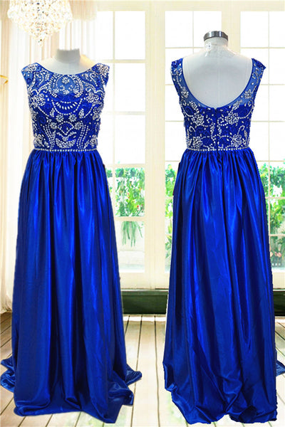 Sleeveless Royal Blue Backless A-Line Long Prom Dresses