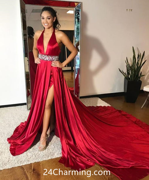 Stunning Halter Red Prom Dress, Long Red Pageant Dress