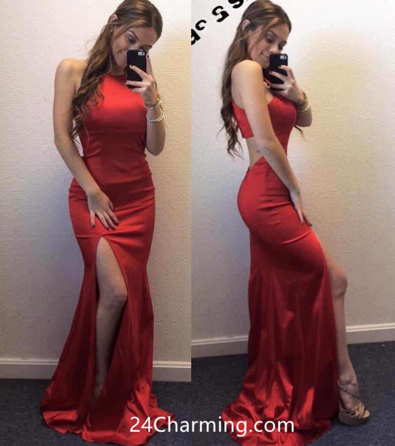 Halter Jersey Cutout Prom Dress, Red Cutout Back Pageant Dress