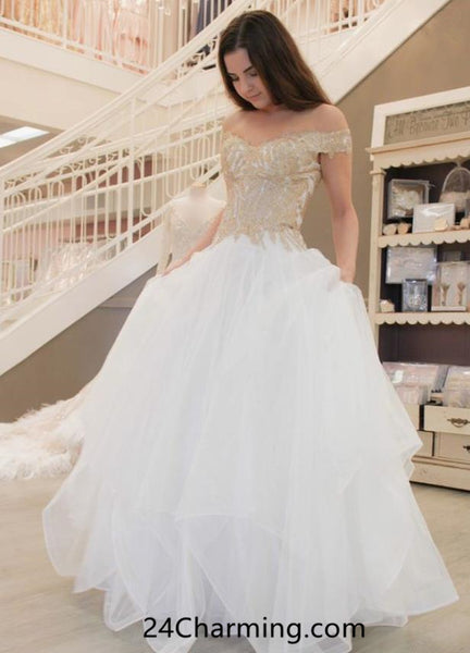 A Line Off Shoulder Golden Prom Dress, Stunning Pageant Dress