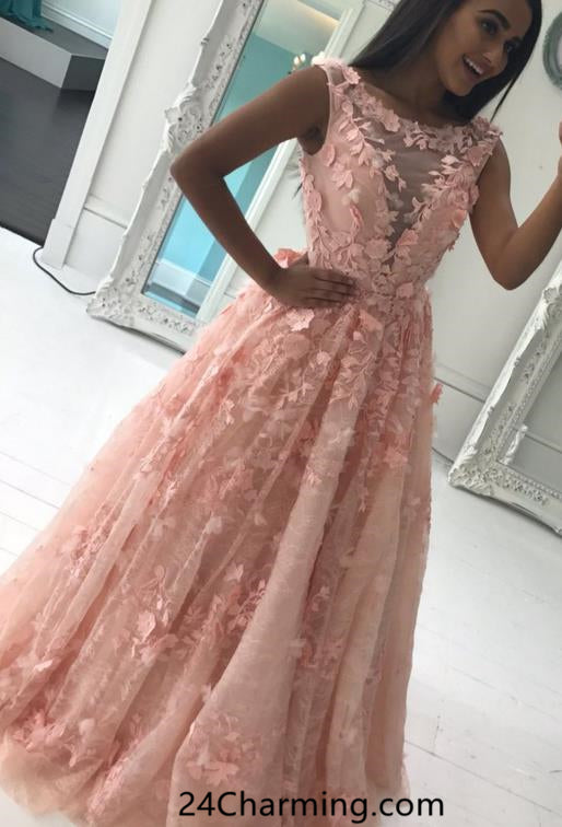 3D Flowers Prom Dress 2018 Pageant Dress for Cheap
