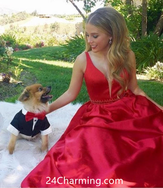 A Line Red Stunning Prom Dress, Red Pageant Dress