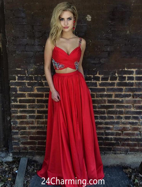 Satin Applique Red Prom Dress, Red Two Piece Pageant Dress