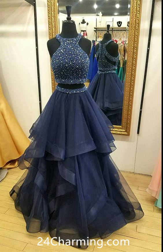 Two Piece Navy Blue Prom Dresses, Navy Blue Cutout Pageant Dress
