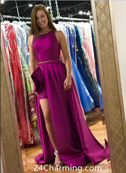 Stunning Two Piece Purple Prom Dress, Purple Pageant Dress