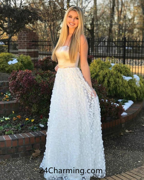 Strapless 3D Flowers Prom Dresses 2018 Evening Dresses Online