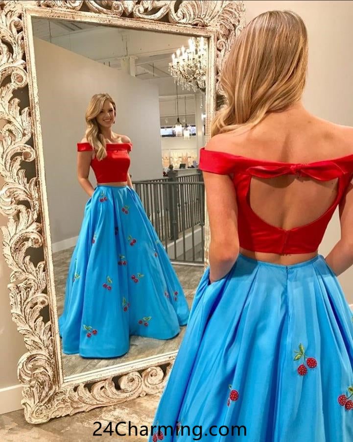 Two Piece Cute Red Top Prom Dresses Evening Dresses Online