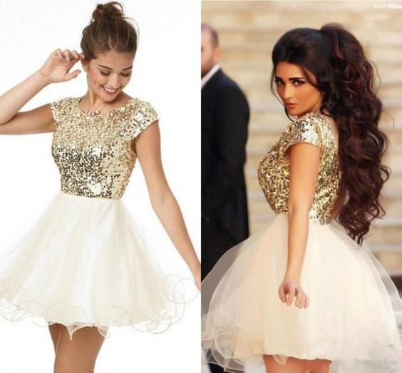 Gorgeous Shinny Homecoming Dress,Golden Homecoming Dress, Golden Short Prom Dress