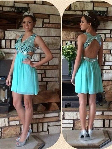 Chiffon Homecoming Dress,Sparkly Women Dress, Open Back Homecoming Dress