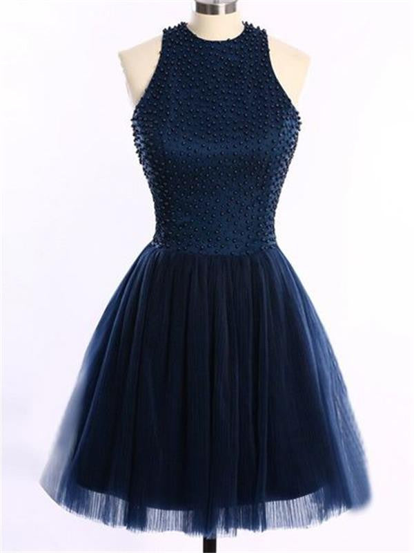 Halter Homecoming Dress, Beaded Homecoming Dress,Tulle Homecoming Dress