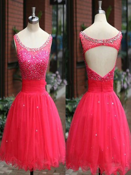 Scoop Homecoming Dress, Tulle Homecoming Dress with Beads