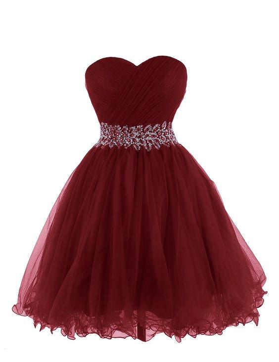 Burgundy Sweetheart Prom Dress,Short  Prom Dresses,Evening Dresses