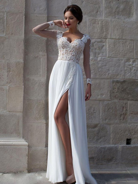 Long Sleeve White Lace Chiffon Prom Dresses,Evening Dresses