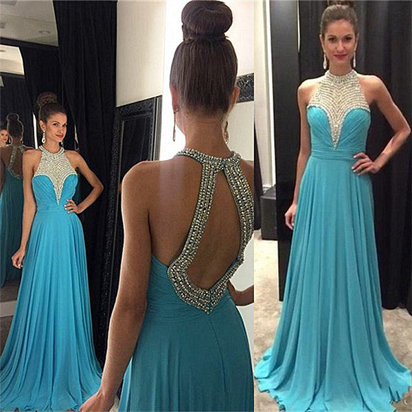 Halter Backless Prom Dress,Blue Long Prom Dresses