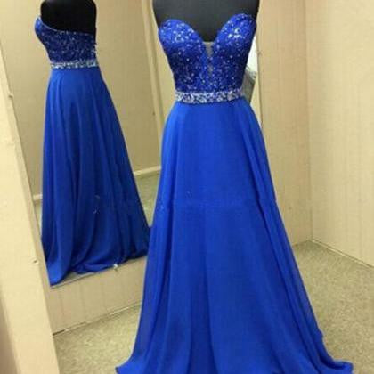 Sweetheart A-line Chiffon Royal Blue Beadings Prom Dresses