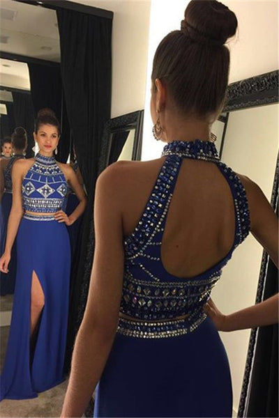 Two Piece Prom Dress,Slit Satin Blue Long Prom Dresses,Evening Dresses