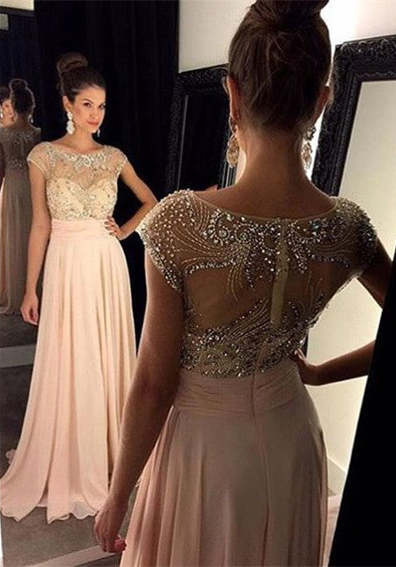 O-Neck Prom Dress,A-Line Pink Prom Dresses,Evening Dresses