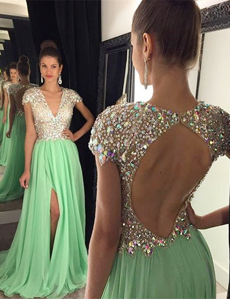 Cap Sleeve Prom Dress,Green Chiffon Prom Dresses,Evening Dresses