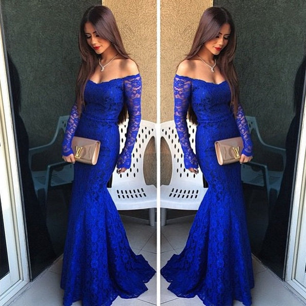 Royal Blue Lace Mermaid Off Shoulder Long Prom Dresses