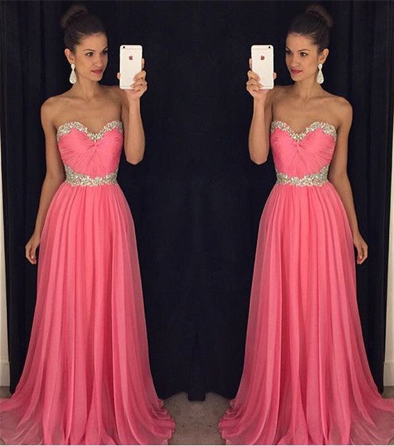 Pink Sweetheart Prom Dress,Chiffon Long Prom Dresses,Evening Dresses