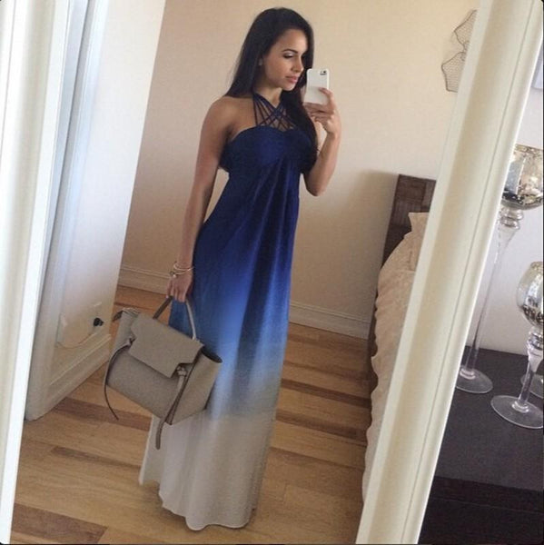 Halter Simple Chiffon Blue  Long Prom Dresses
