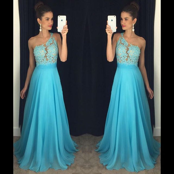 One Shoulder Prom Dress,Blue A-Line Prom Dresses,Evening Dresses