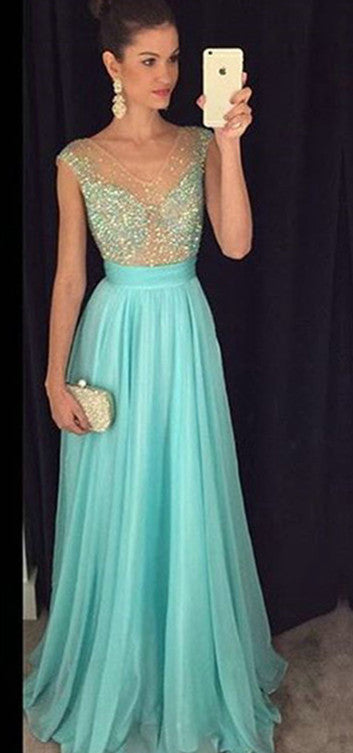 Chiffon Mint Prom Dress,A-line Beading Prom Dresses,Evening Dresses