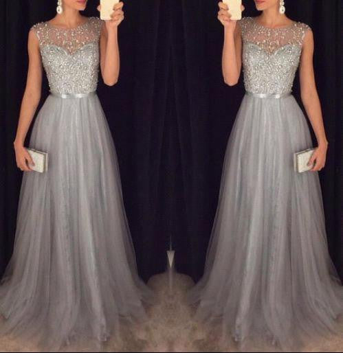 Grey Sleeveless Prom Dress,A-Line Prom Dresses,Evening Dresses