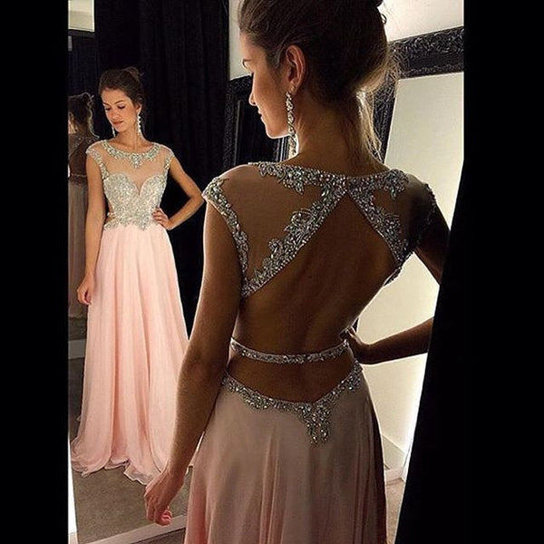 Cap Sleeve Prom Dress,Pink A-Line Prom Dresses,Evening Dresses