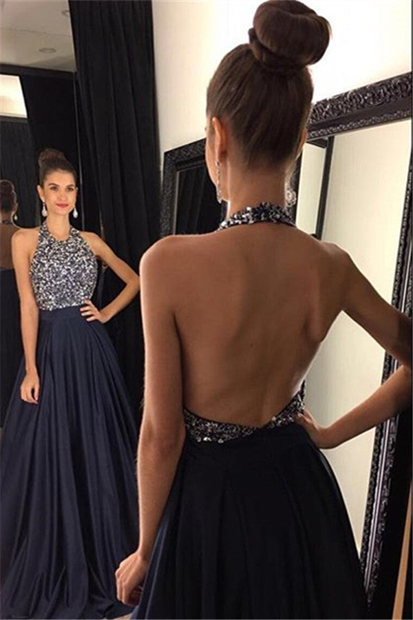 Sexy Halter Prom Dress,Navy Blue Prom Dresses,Evening Dresses