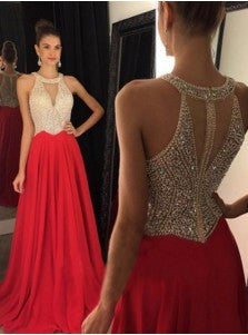 Red Prom Dress,Floor Length Prom Dresses,Evening Dresses