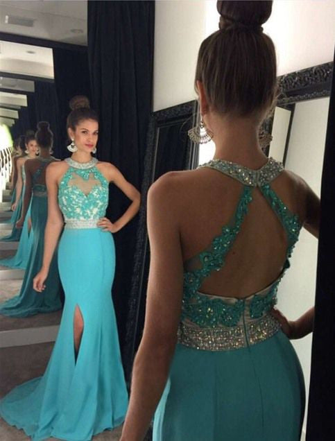 Halter Blue Prom Dress,Side Slit Prom Dresses,Evening Dresses