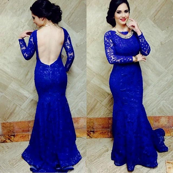 Long Sleeve Royal Blue Open Back Prom Dresses