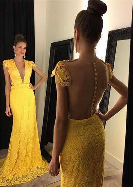 Yellow Lace Prom Dress,See Through Back Prom Dresses,Evening Dresses