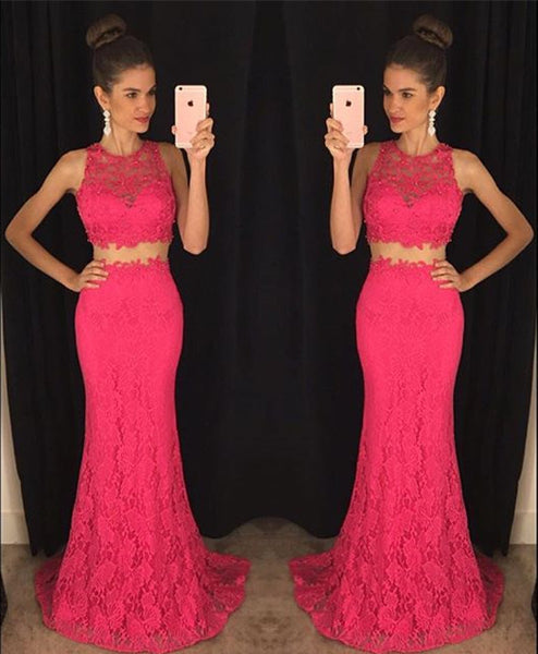 Mermaid Lace Prom Dress,Hot Pink Two Piece Prom Dresses,Evening Dresses