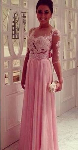 Half Sleeve Pink Pearls Beaded Chiffon Prom Dresses