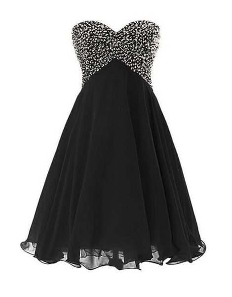 A Line Beading Black Homecoming Dress