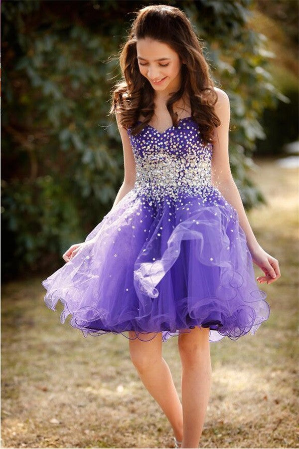 Tulle Purple Homecoming Dress, Tulle Short Sweetheart Homecoming Dresseses