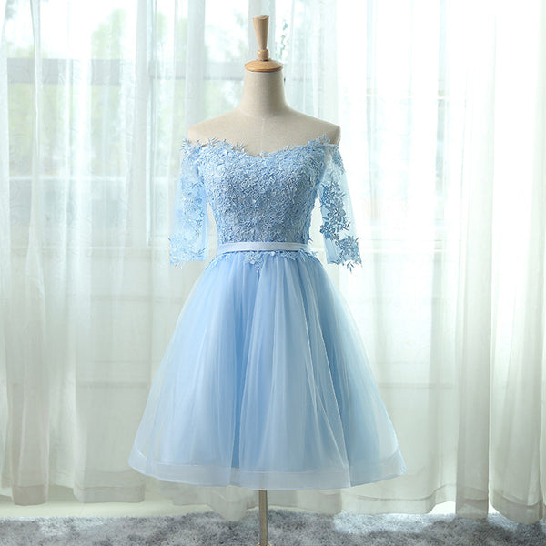 Half Sleeve Prom Dresses,Light Blue Prom Dress,Evening Dresses