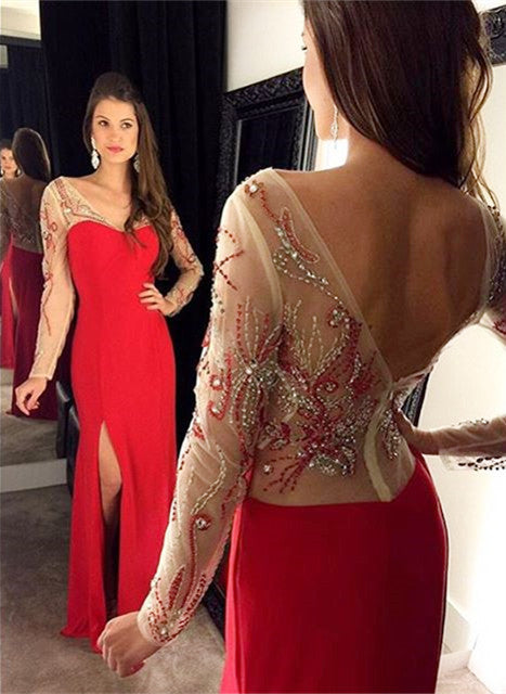 Long Sleeves Prom Dress,Red Prom Dresses,Evening Dresses