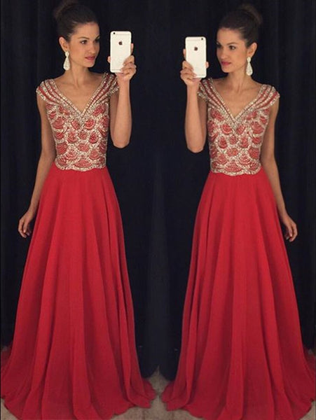 Cap Sleeve Prom Dress,Red V-Neck Prom Dresses,Evening Dresses