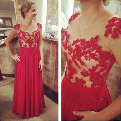 Scoop Sleeves Red Applique Long Prom Dresses