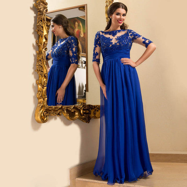 Half Sleeve Beadings A-Line Blue Long Prom Dresses