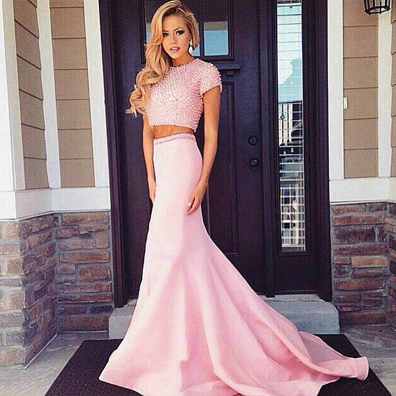 Two Piece Pink Short Sleeve Beadings Prom Dresses