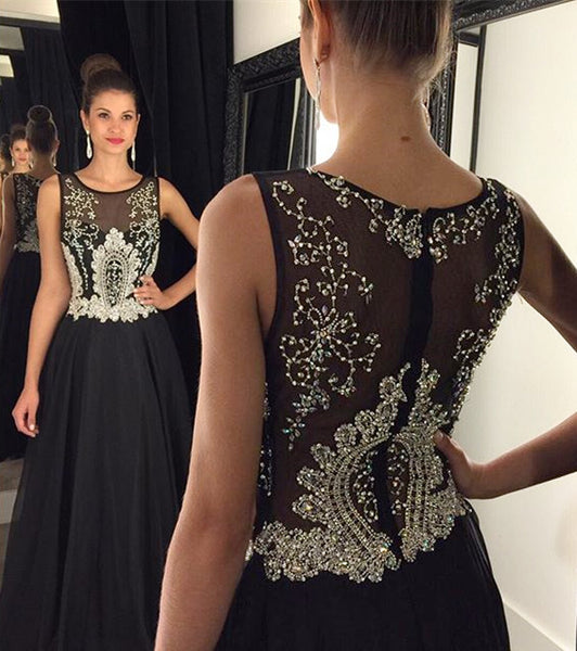Beaded Black Prom Dress,A-Line Prom Dresses,Evening Dresses